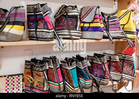 Cartagena Colombia Old Walled City Center centre Getsemani women's handbags display sale traditional woven straw - Stock Image