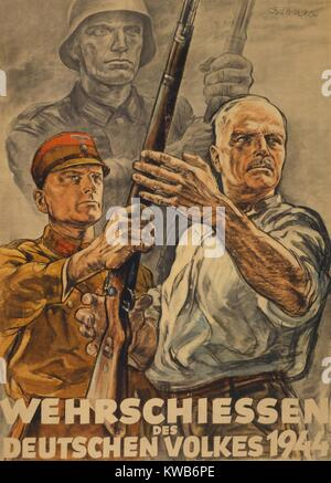 'Defense Shooting for the German People.' World War 2 poster for a civilian defense shooting contest. It - Stock Image