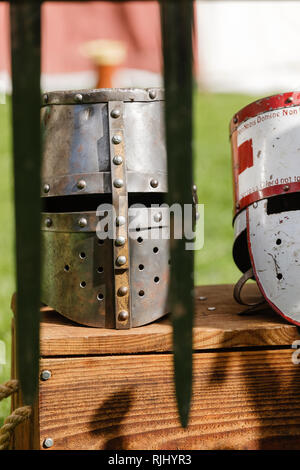 Head armour at a Re-enactment medieval festival - Stock Image