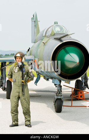 Croatian Air Force MiG-21 BISD fighter pilot posing before his aircraft - Stock Image