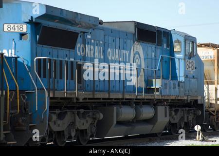 8418 blue diesel engine force goods heavy industry iron locomotive mass metal movement power rail rails road service - Stock Image