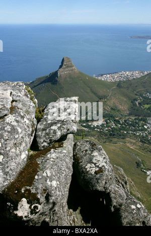 Lion's Head, Sea Point and Robben Island from Table Mountain, Cape Town, Western Cape Province, South Africa. - Stock Image