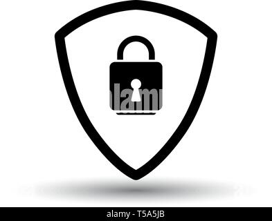 Data Security Icon. Black on White Background With Shadow. Vector Illustration. - Stock Image