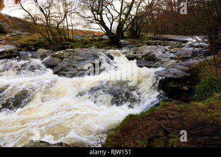 Aira Force waterfall, Matterdale, Penrith, Lake District, Cumbria, England - Stock Image