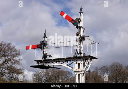 Semaphore signal gantry at Horsted Keynes station, Bluebell Railway - Stock Image