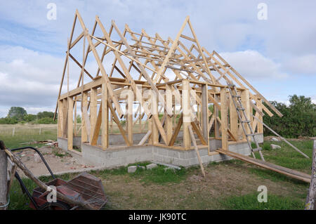 Small house under construction on Manija island, Estonia 9th July 2017 - Stock Image
