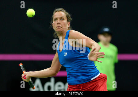 Prague, Czech Republic. 10th Nov, 2018. Czech tennis player Barbora Strycova in action against US tennis player Sofia Kenin (not seen) during the 2018 Fed Cup final match between Czech Republic and USA, rubber 1, singles, at the O2 arena in Prague, Czech Republic, on November 10, 2018. Credit: Katerina Sulova/CTK Photo/Alamy Live News - Stock Image