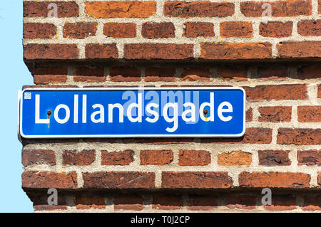 Typical Danish street name sign - Fredericia, Denmark. - Stock Image