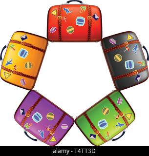 five different color suitcases - Stock Image