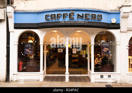 A Cafe Nero coffee shop on Winchester high street near Christmas time - Stock Image