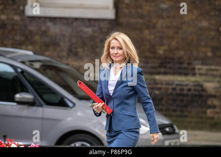London 10th July 2018, ,Ester McVey,  Work and Pension Secretary,arrives at Cabinet meeting at 10 Downing Street, London Credit Ian Davidson/Alamy Live News - Stock Image