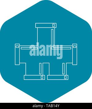 Piping connection icon, outline style - Stock Image