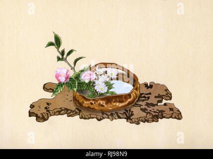 CAMELLIA and CHRYSANTHEMUM a Spring arrangement. Ohara School of Ikebana - Stock Image