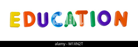 The word 'education' made up from coloured plastic letters - Stock Image