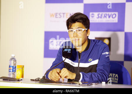 Pune, India. 1st January 2019. Hyeon Chung of South Korea speaks to the press at Tata Open Maharashtra ATP Tennis tournament in Pune, India. Credit: Karunesh Johri/Alamy Live News - Stock Image
