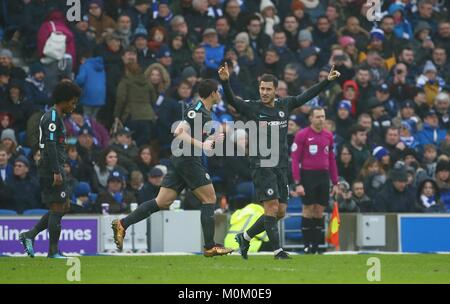 Eden Hazard of Chelsea celebrates scoring his second goal during the Premier League match between Brighton and Hove - Stock Image