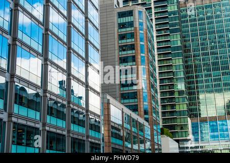 Modern Offices,Office Windows,Silk Street,London,England,UK - Stock Image