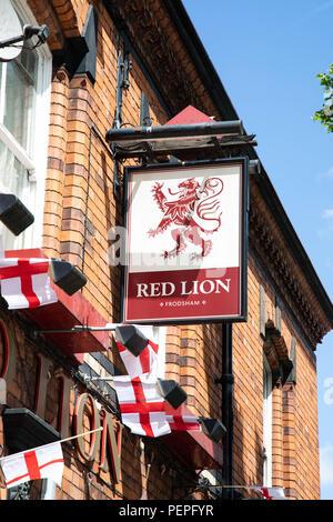 Red Lion public house sign Frodsham Cheshire June 2018 - Stock Image