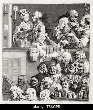 William Hogarth, The Laughing Audience, engraving, 1733 - Stock Image