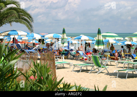 visitors enjoy beautiful Grottammare's spectacular facilities  in Le Marche,Italy - Stock Image
