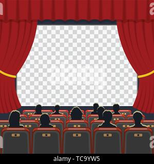 Cinema auditorium with seats and audience - Stock Image
