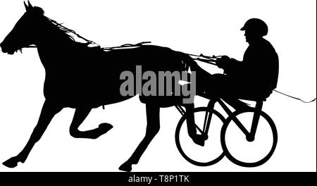 horse and jockey harness racing silhouette - vector - Stock Image