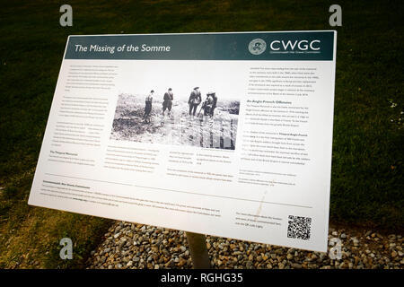 Information boards at The Thiepval Memorial in Northern France - Stock Image
