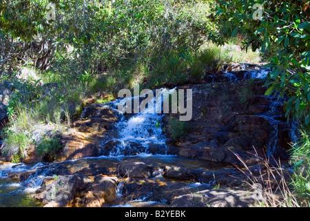 Waterfall, Cristal River, Rio Cristal, Chapada dos Veadeiros, Veadeiros Tableland, Goias, Brazil - Stock Image