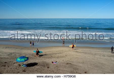 Beach scene in Del Mar (San Diego County) in California, USA. - Stock Image