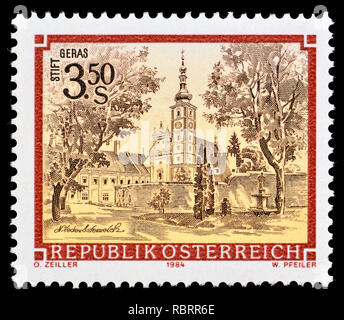Austrian postage stamp (1984) : Monasteries and Abbeys series: Premonstratensian monastery, Geras / Stift Geras - Stock Image