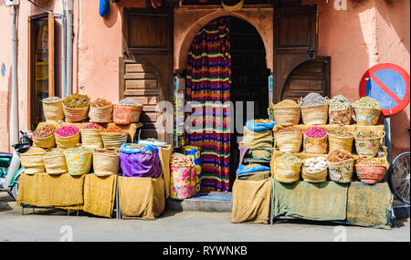Colorful spices in a local shop in the Medina of Marrakech, Morocco - Stock Image