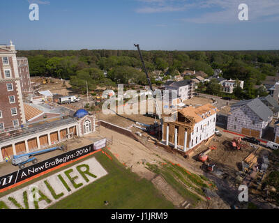Aerial of construction at old Cavalier Hotel, Virginia Beach, VA - Stock Image
