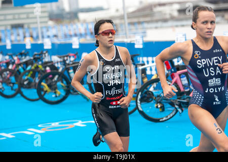 Yokohama, Japan. 18th May, 2019. 2019 ITU World Triathlon, World Paratriathlon Yokohama at Yamashita Park and Minato Mirai, Yokohama. Takahashi, Spivey (Photos by Michael Steinebach/AFLO) Credit: Aflo Co. Ltd./Alamy Live News - Stock Image