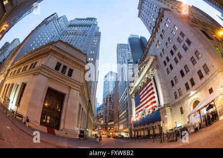Wall Street New York , New York Stock Exchange, Fisheye, Skyline, Financial District, Manhattan, New York City, - Stock Image