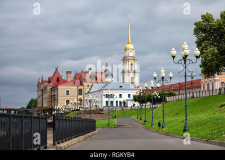 Rybinsk, Russia. Embanknkment of Volga river with view on historic buildings - Stock Image