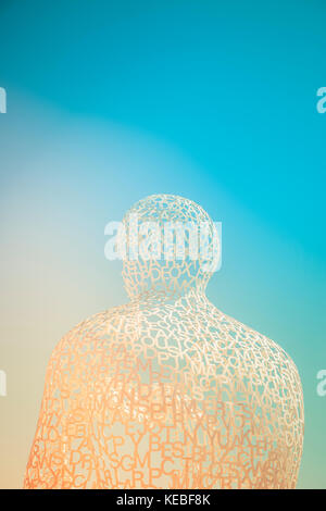 Nomade, a sculpture of a man made of letters in Antibe by Jaume Plensa - Stock Image