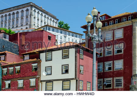 The historic centre of Oporto or Porto is a World Heritage site. These houses are situated by the Praça da - Stock Image