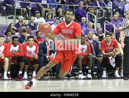 Fort Worth Texas, USA. 15th Mar, 2017. NIT basketball, tournament, NCAA, First Round, Bulldog guard Jaron Hopkins - Stock Image