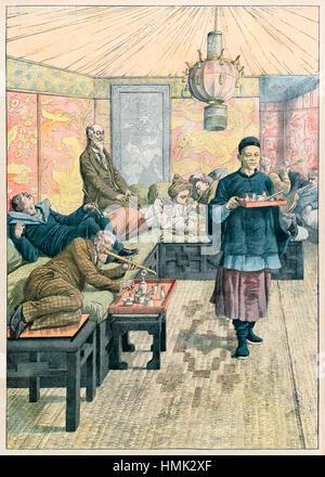 'A New Vice - Opium Smoking in France' illustration of an opium den in France to accompany an 1905 article in from - Stock Image