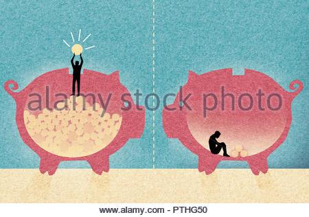 Contrast between wealthy man and poor man inside of piggy banks - Stock Image