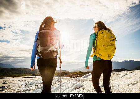 Women Hiking On The Matanuska Glacier, Matanuska Valley, Chugach National Forest, Southcentral Alaska - Stock Image