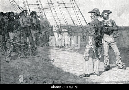 Impressment of American Seamen, Second War for Independence / War of 1812. Illustration by Howard Pyle, 1884 - Stock Image