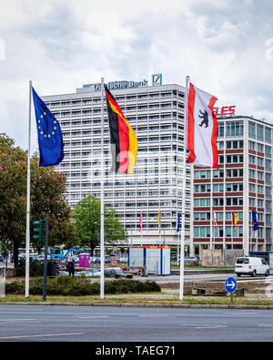 Ernst-Reuter-Platz.Charlottenburg, BerlinThe square is named after Ernst Reuter, mayor of West Berlin from 1948-1953. European,Berlin & German flags - Stock Image