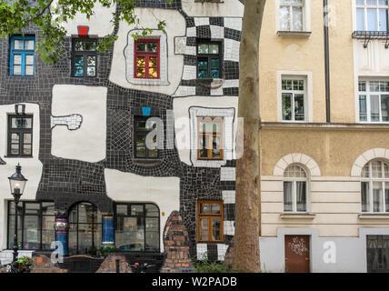 Exterior view of KunstHausWien, a museum featuring artist and architect Friedensreich Hundertwasser, Landstrabe District, Vienna, Austria - Stock Image