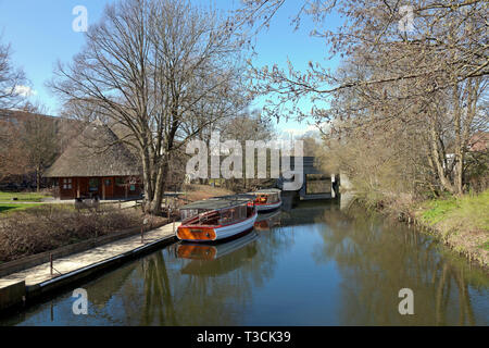 Fæstningskanalen, the Fortification Canal in Kongens Lyngby created in 1880s as part of a new fortification ring around Copenhagen, the Danish capital - Stock Image