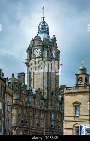 The clock tower of the Balmoral Hotel building, 1 Princes Street, Edinburgh, Scotland, UK - Stock Image