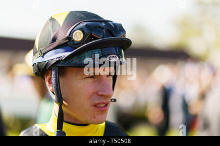 Richard Kingscote, jockey during All Weather Championships Finals Day at Lingfield Park Racecourse. - Stock Image