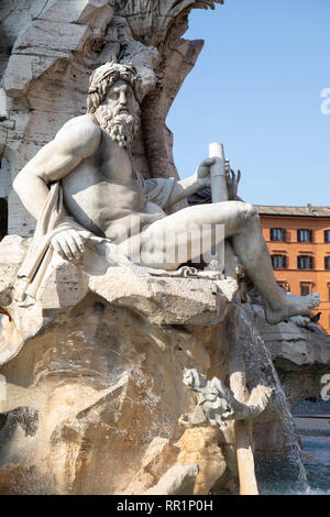 Piazza Navona in Rome Italy on a sunny spring day - Stock Image