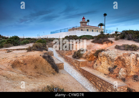 Lagos lighthouse captured at dawn, Portugal. - Stock Image