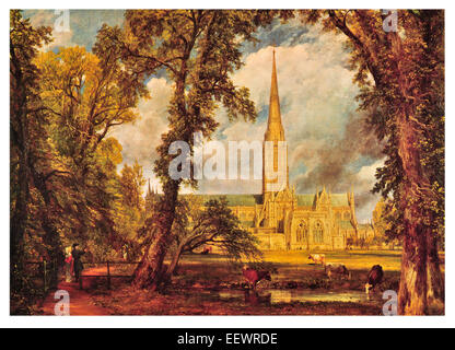 Salisbury Cathedral John Constable Church of the Blessed Virgin Mary Anglican spire Magna Carta Bishop's Garden - Stock Image